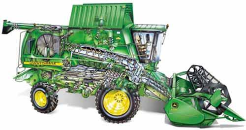 Комбайн зерноуборочный с аксиально-роторной системой обмолота и сепарации (John Deere 9000 STS)