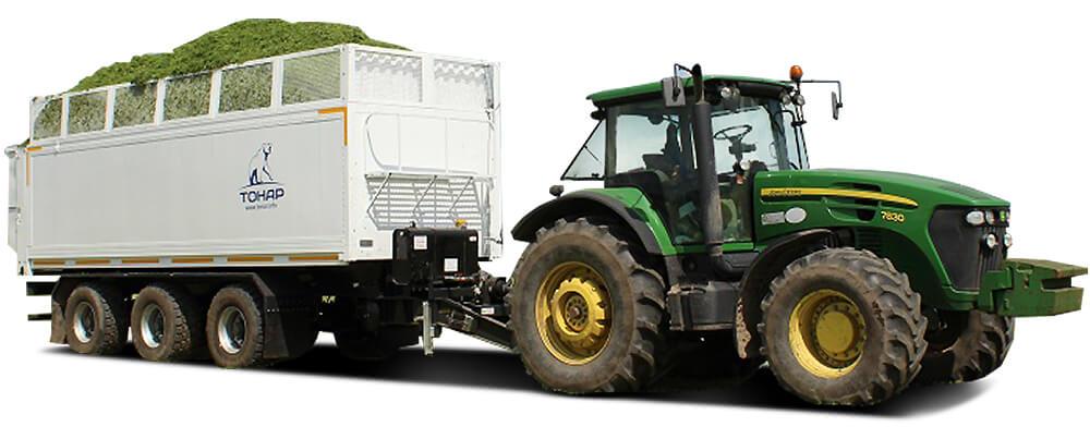 Прицеп тракторный со сдвижными полами и подруливающими осями (ПТ-3)